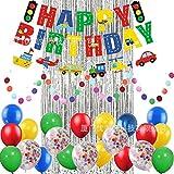 Wuudi 29 pièces décoration de fête d'anniversaire Ballon à Air Chaud Transport véhicule thème Joyeux Anniversaire bannière et Ballons en Latex