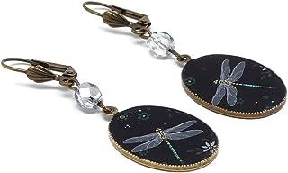 Retro orecchini libellula resina grigio nero verde fiore ottone bronzo perline vetro regalo di natale festa della mamma co...