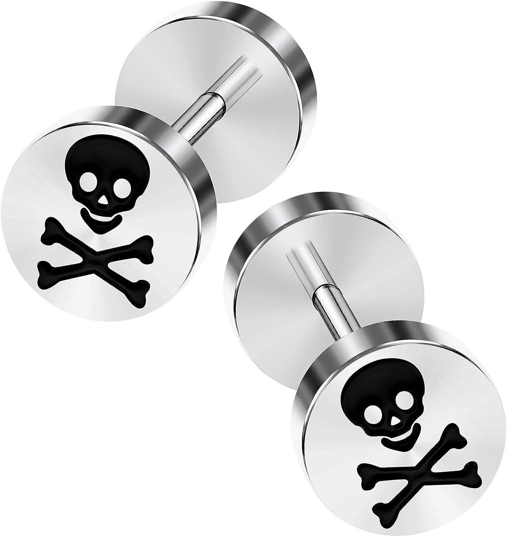 KJM FASHION 2PCS Surgical Steel Fake Gauge Ear Plug Cheater Lobe Earring Piercing Jewelry More Theme