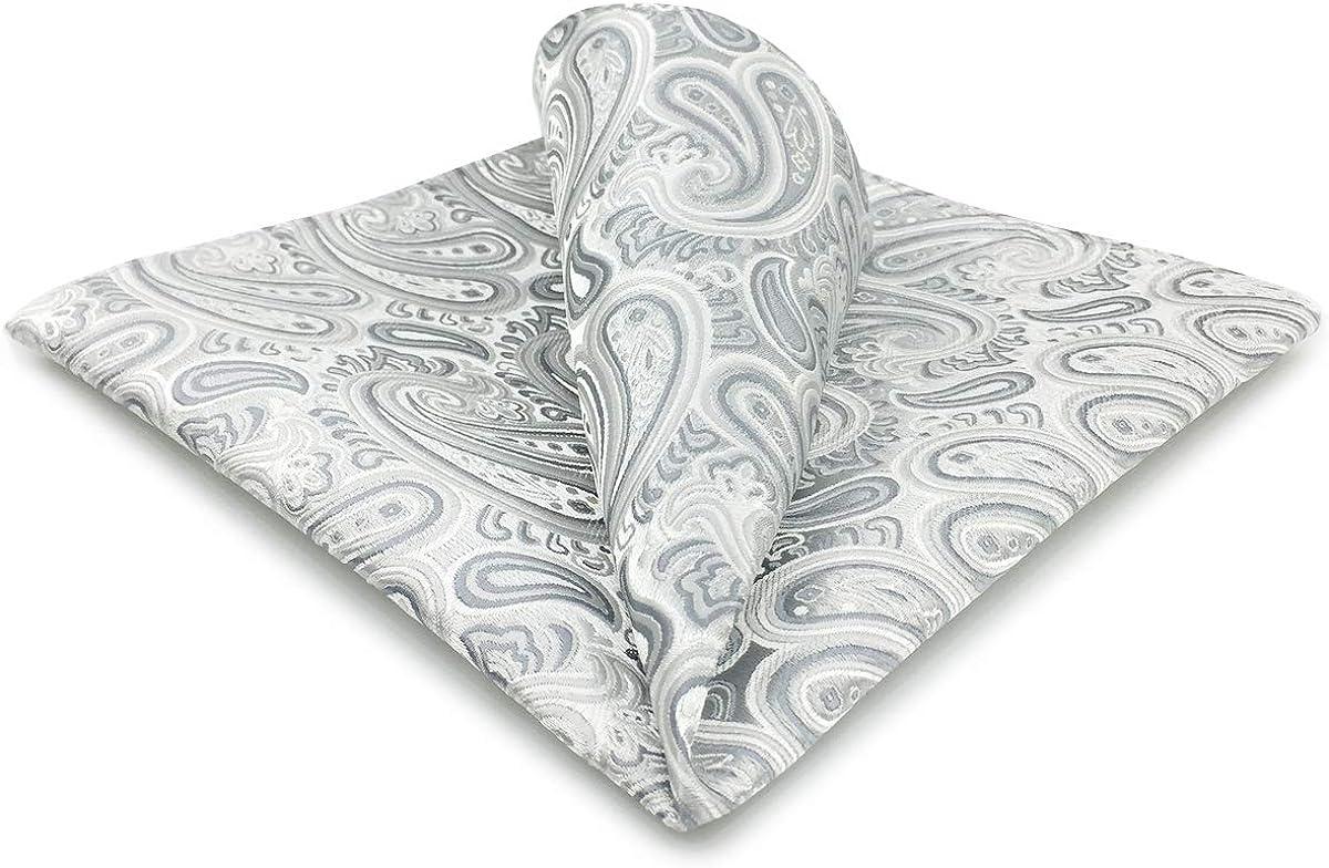 Max 75% OFF Shlax Wing Silver Paisley Pocket Square S Cheap mail order sales Hanky Silk Mens Grey