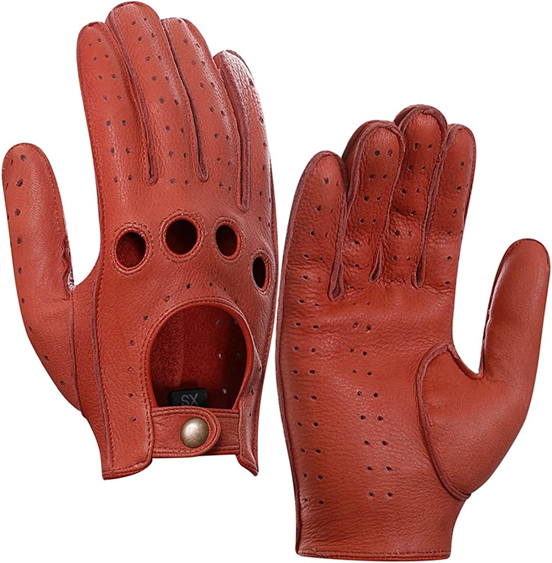 Harssidanzar Mens Leather Driving Max 62% OFF Louisville-Jefferson County Mall Gloves Unlined