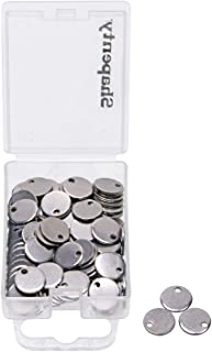 Shapenty Small Round Stainless Steel Flat Blank Stamping Tag Pendants Mini Discs for Bracelet Earring Necklace Chain Charm...