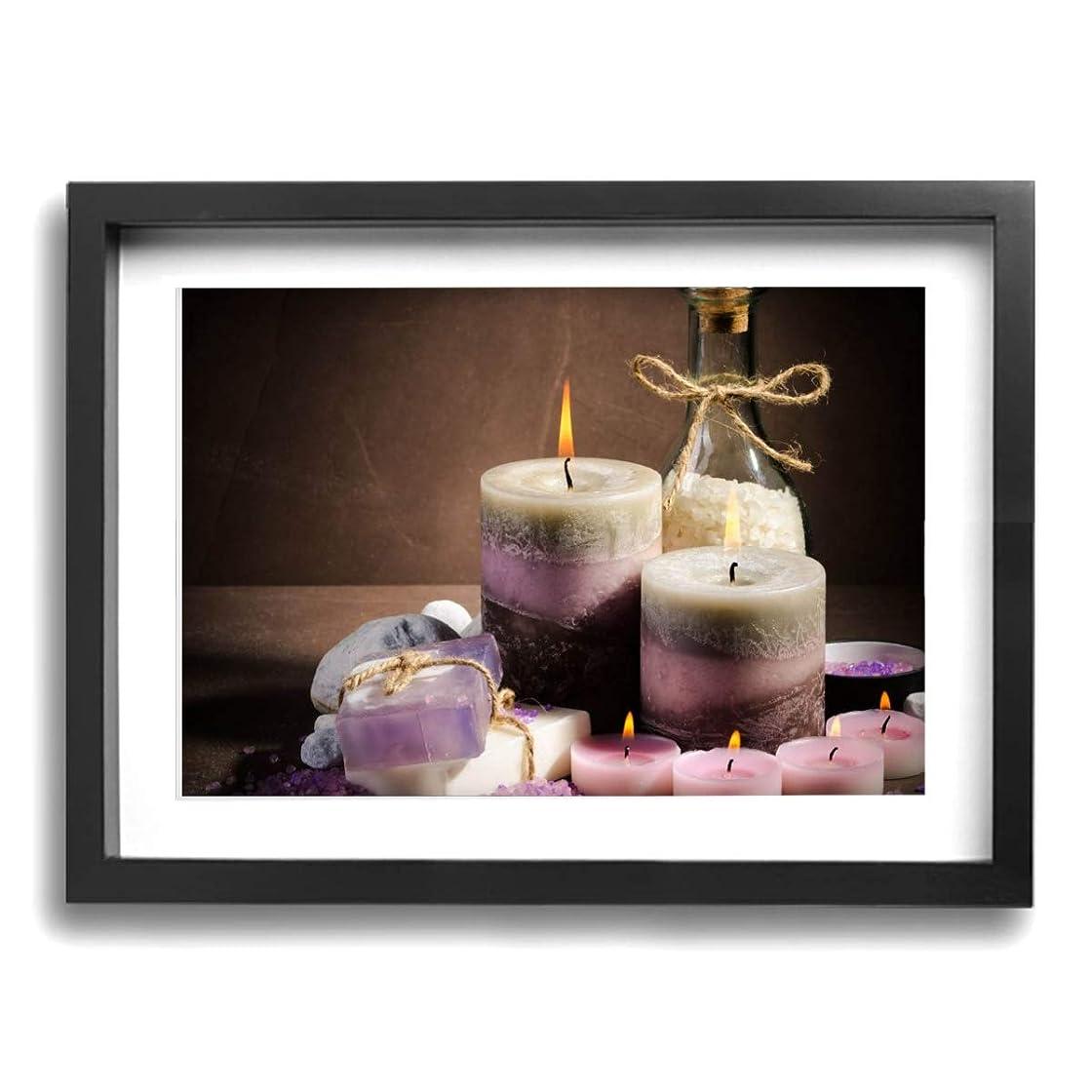 ヒューマニスティック山積みの護衛魅力的な芸術 30x40cm Spa Purple Color Candle Oil キャンバスの壁アート 画像プリント絵画リビングルームの壁の装飾と家の装飾のための現代アートワークハングする準備ができて
