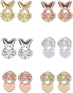 Sollevatori per orecchini - 6 paia di sollevatori per orecchie - Sollevatori per orecchino regolabili ipoallergenici - 2 s...