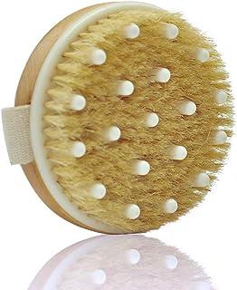 CoWalkers Cepillo para cuerpo seco con cepillo para uñas- Cepillo para cerdas naturales para masaje corporal Cepillado par...