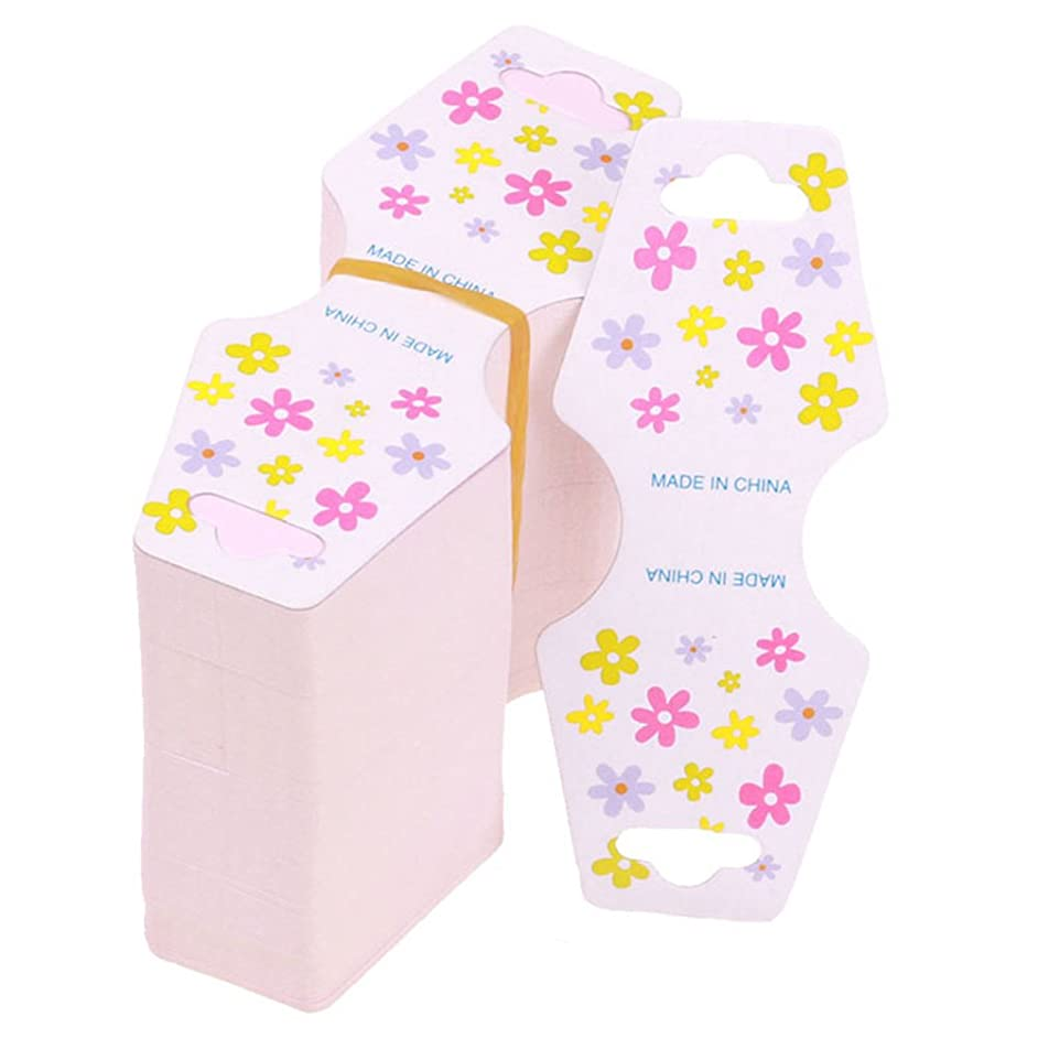 200Pcs Flower Pattern Paper Necklace Bracelet Display Cards Hanging Cards for Jewelry Accessory Packaging Display Card Price Tags 92x37mm