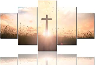 Wall Crosses Decor Christian Pictures for Wall Resurrection of Jesus Christ Paintings 5 Panel Canvas Art Artwork Home Decorations for Living Room Framed Gallery-wrapped Ready to Hang(60''Wx32''H)