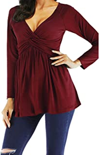 Women's Pleated Twist Knot Tunic Tops V-Neck Loose Flowy Blouse Casual T-shirt for Leggings Plus Size Shirts Tee (Color : ...