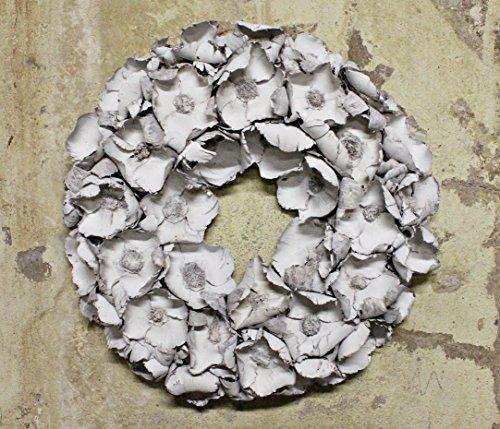 Homeclassics Großer Shabby Blüten Kranz altweiß Türkranz Wandkranz Ø 65 cm Naturkranz Landhaus