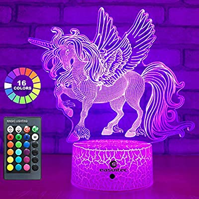 easuntec Unicorn Gifts Night Lights for Kids with Remote & Smart Touch 7 Colors + 16 Colors Changing Dimmable Unicorn Toys 1 2 3 4 5 6 7 8 Year Old Girl Gifts (Unicorn 16WT)