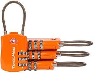 4 Pack TSA Approved Travel Combination Cable Luggage Locks for Suitcases & Backpacks - Orange