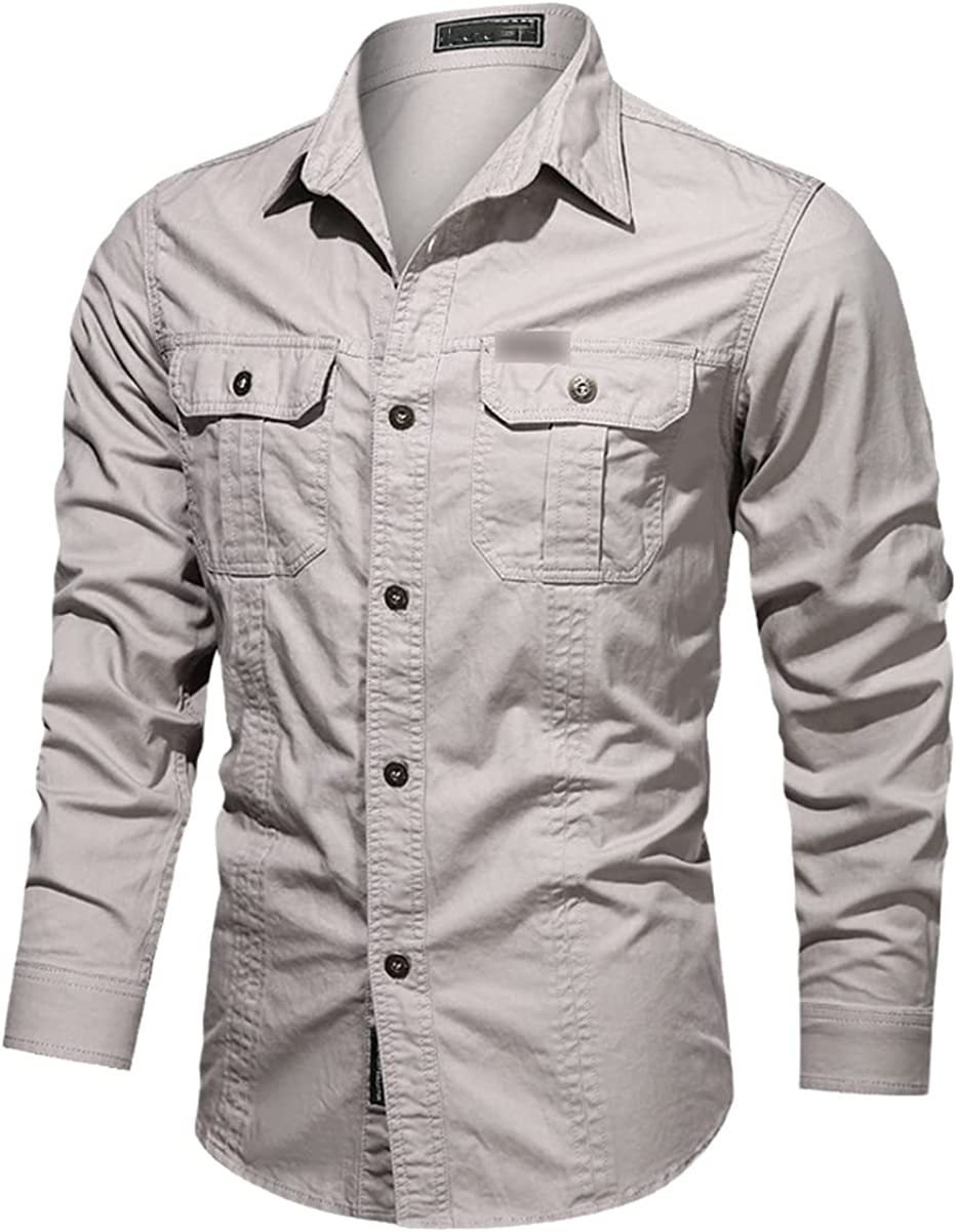 Casual 100% Cotton Men's Shirt Solid Color Stand-Up Collar Pocket Button Shirt Long-Sleeved Shirt