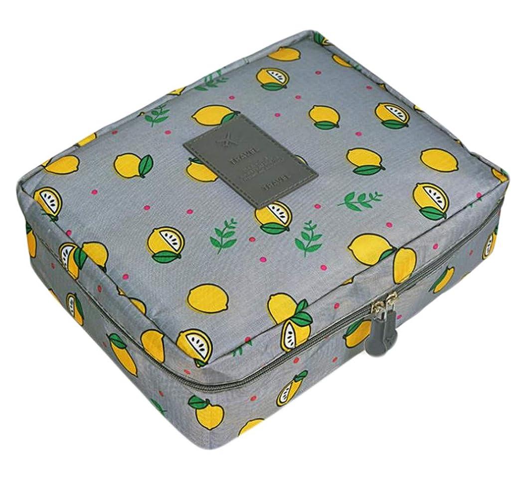 つま先メガロポリスに渡って(ジャンーウェ)収納ケース メイクポーチ 大容量 化粧ポーチ 化粧品 収納 雑貨 小物入れ ボックス トラベルバッグ 持ち手 防水 花柄 レモンプリント かわいい