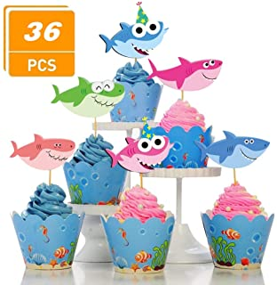 SAKOLLA Shark Cupcake Toppers - 36 Pieces Little Shark Cake Topper for Under The Sea Shark Theme Birthday Party, Baby Shower Party Supplies