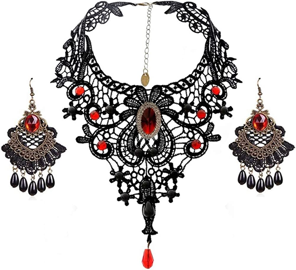Black Lace Necklace Earrings Set - Gothic Lolita Pendant Choker Necklace Victorian Style Women Accessories for Wedding Birthday Hallowen Christmas Custume