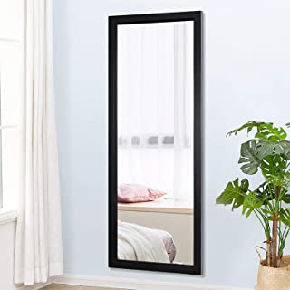 """PexFix 44"""" x 16"""" Full Length Mirror, Simple Sleek Frame on The Door Mirror Rectangle Wall Mounted Mirror Decoration for Home & Office - Black"""