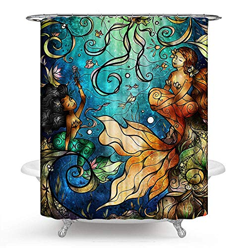 PHNAM Mermaid Shower Curtain with Hooks 72x72 Inches Premium...
