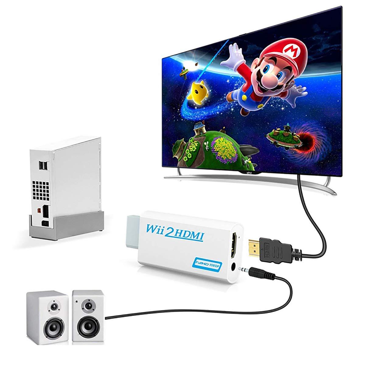 Convertidor Wii a HDMI, adaptador Zeato Wii a HDMI, Wii a HDMI 1080P 720P Salida de conector de vídeo y audio de 3,5 mm: Amazon.es: Electrónica