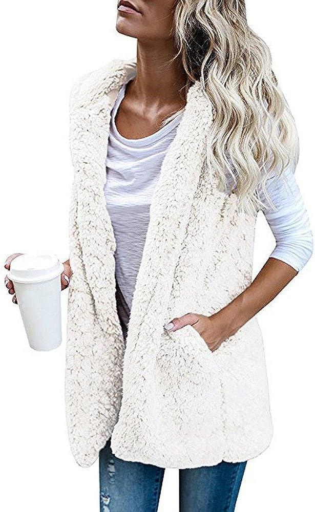 KYLEON Women's Coat Buffalo Plaid Zip Up Vest Sleeveless Knit Wool Pea Coat Parkas Jacket Overcoat Outwear with Pockets