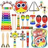 Elover Musikinstrumente für Kinder 20 Stück 15 Typen Musik Spielzeug Holz Percussion Set Schlagzeug Schlagwerk Rhythmus Spielzeug für Kinder und Baby mit Schultasche