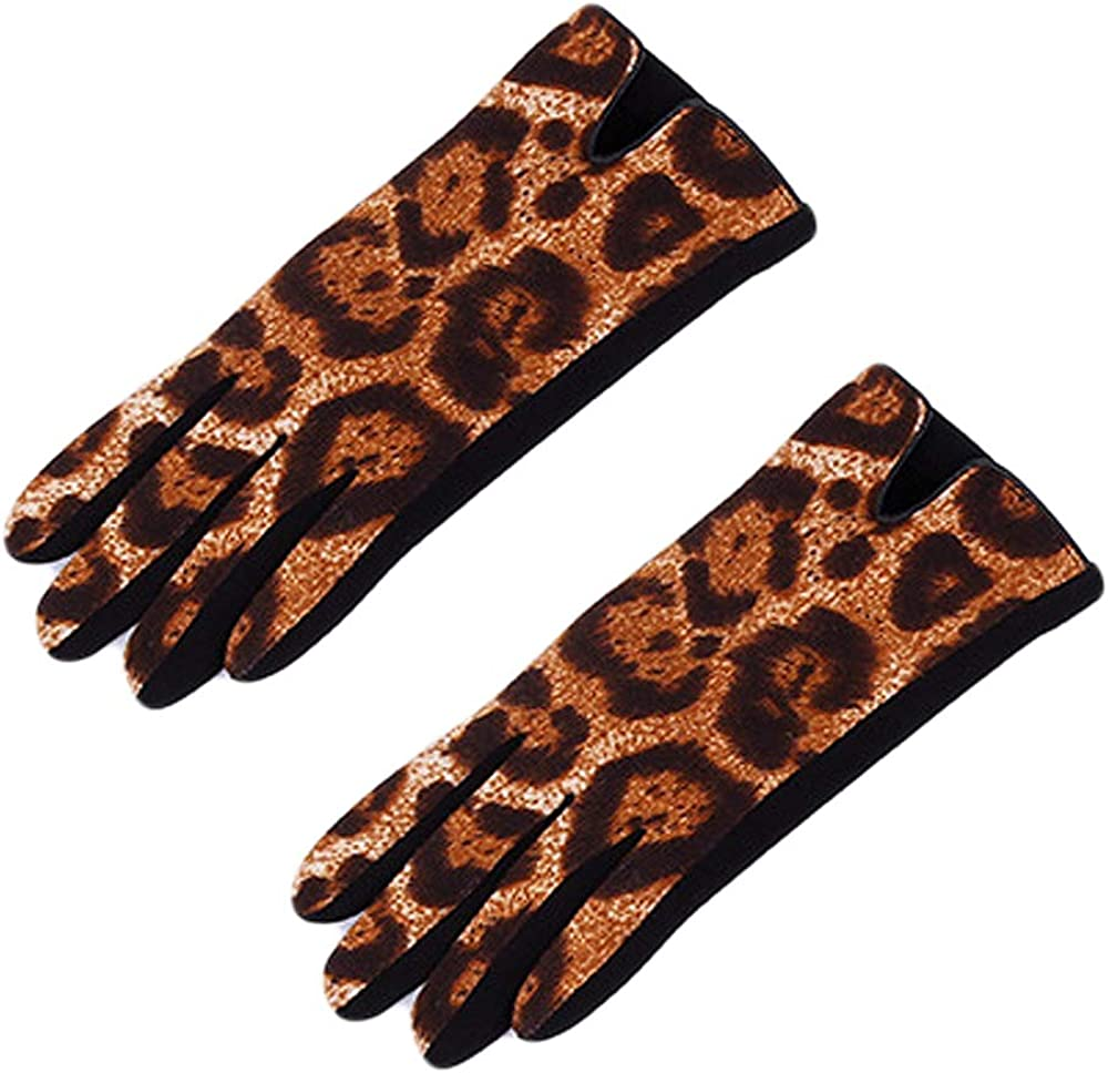 Women's Stretch Fleece Leopard Print Gloves Animal Leopard Print Faux Fur Trim Touchscreen Gloves for Texting & Touchscreens