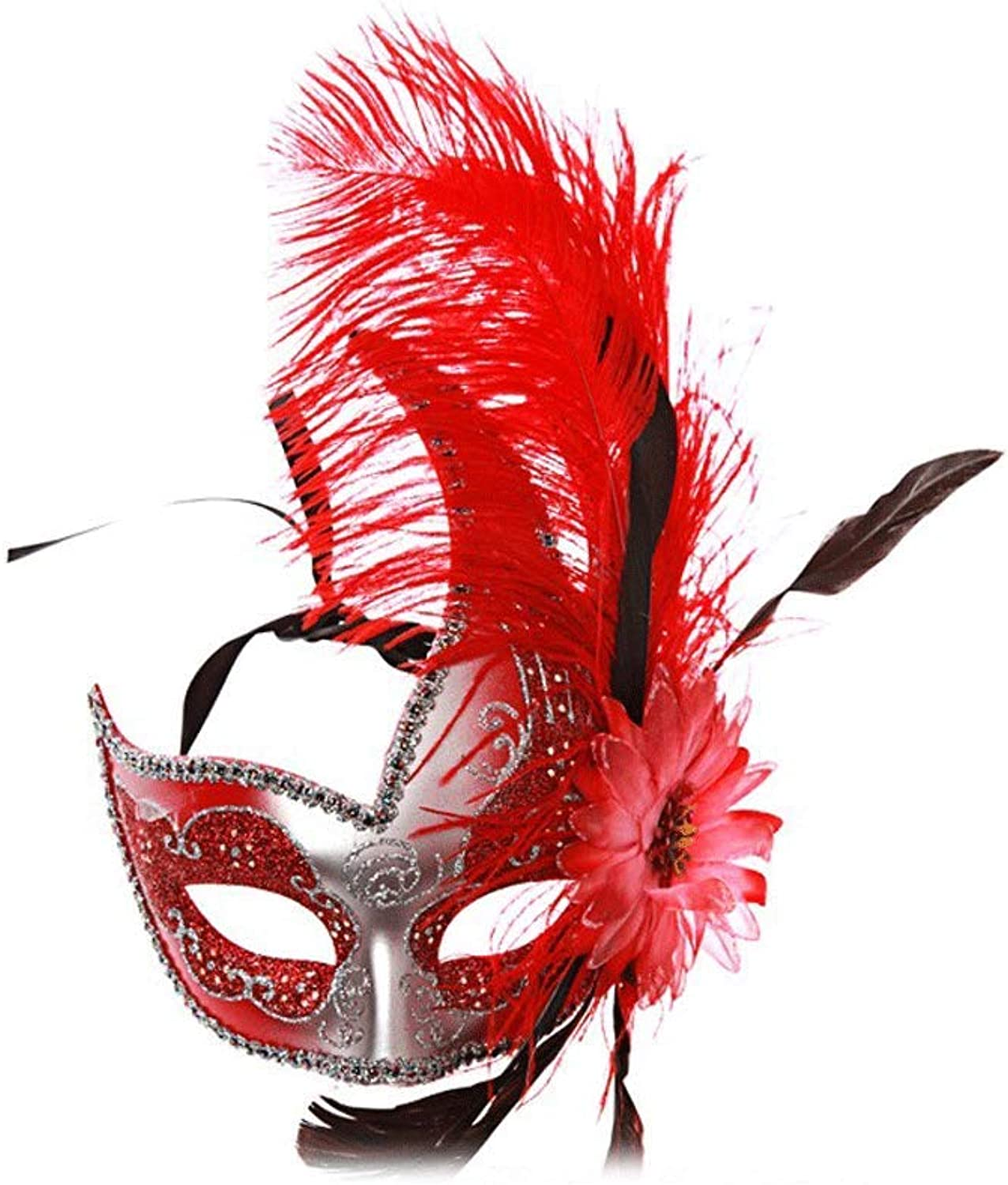 Nanle Halloween mask Half face Feather mask Venice Princess mask Beauty lace Masquerade Cosplay (color   Style B red)