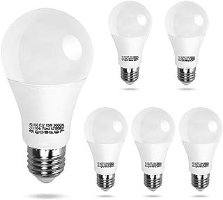 Aigostar - Bombillas LED E27 15W, 1200 lumen, Luz calida 3000K, Ángulo 280°, A60 no regulable - 5 unidades