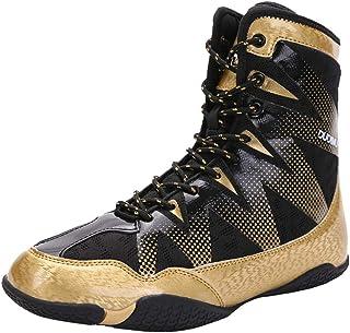 XFQ Scarpe Boxe Degli Uomini, High Top Sneakers Combattimento Leggero E Traspirante Anti-Skid Wrestling Coperta Squat Form...
