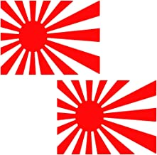 UR Impressions Red 4in. Rising Sun Flag 2-Pack Decal Vinyl Sticker Graphics Car Truck SUV Van Wall Window Laptop Tablet|RED|4 X 2.7 Inch|JJURI014