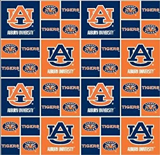 Cotton University of Auburn Tigers College Team Cotton Fabric Print D663.02