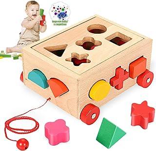 O-Kinee Cubo Actividades de Madera Juguete Educativo Rompecabezas de Cubo de Madera para Promover el Reconocimiento de For...