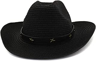 Bin Zhang Women Men Outdoor Beach Hat Sun Hat Visor Western Cowboy Hat Fedora Hat Copper Five-pointed Star Straw Hat Top Hat