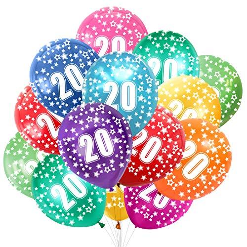 Globo Número 20, Cumpleaños Globos 20 Años, 20 Cumpleaños Decoración Globos Niño,Colores Globos Numeros 20 Fiesta Decoración para Feliz Cumpleaños,30 cm-Paquete de 30