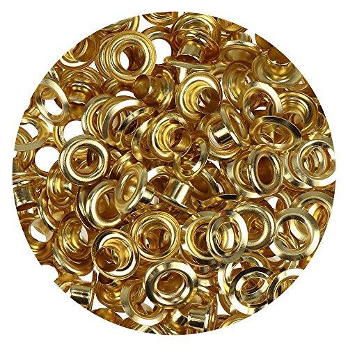 Großpackung Ösen 5 mm Inhalt 100 Stück für Leder Planen Zelte Kleidung (gold)