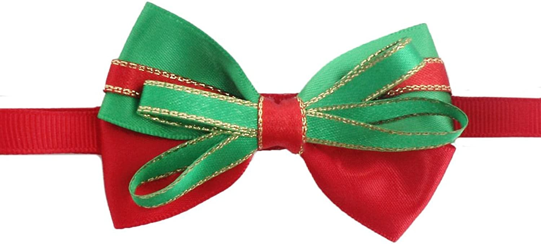 50PCs Dog Charm Collar Handmade Bow Tie Red Green Merry Christmas Dress up Small Medium Dog