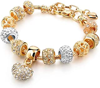c9f48f7f9 Yellow Chimes Crystal Gold Plated Heart Charm Bracelet for Women  (Gold)(YCFJBR-. TOP BRAND