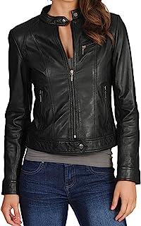 DOLLY LAMB Women's Lambskin Leather Moto Biker Jacket - Winter Wear - Round Neck Collar