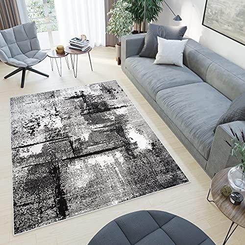 TAPISO Collezione Maya Tappeto Casa Moderno Sala Salotto Camera da Letto Soggiorno Grigio Astratto A Pelo Corto 140 x 200 cm