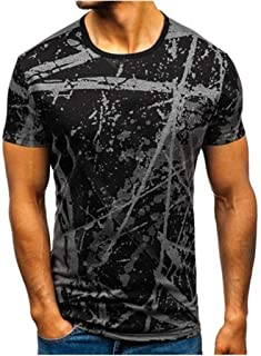 Mens Tee Slim Fit Splashing Ink Print Short Sleeve Muscle Casual Tops Blouse Shirts