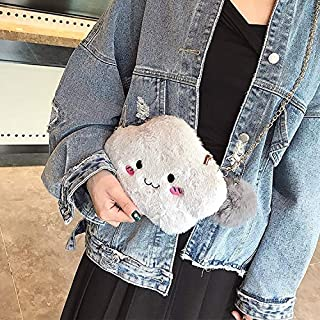 YKDY Shoulder Bag Cute Cloud-Shaped Smile Face Fashion Plush Chain Single Shoulder Bag Ladies Handbag with Plush Pendant (Black) (Color : Grey)