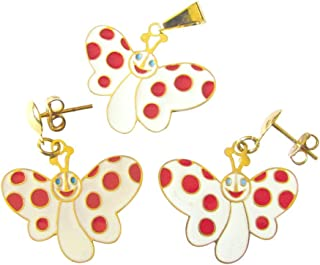 Gold Overlay White Butterfly with Red Polka Dots Set of Pendant and Earrings Children Jewelry