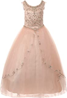 Bateau Illusion Neckline Stones Embellished Flower Girl Long Dress