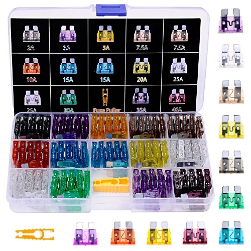 140pcs ATO/APR/ATC Fuse Car Kit Assorted Auto Car Truck Standard Blade Fuse Assortment 2A 3A 5A 7.5 A 10A 15A 20A 25A 30A 35A 40A Car Boat Truck SUV Automotive Replacement Fuses Puller