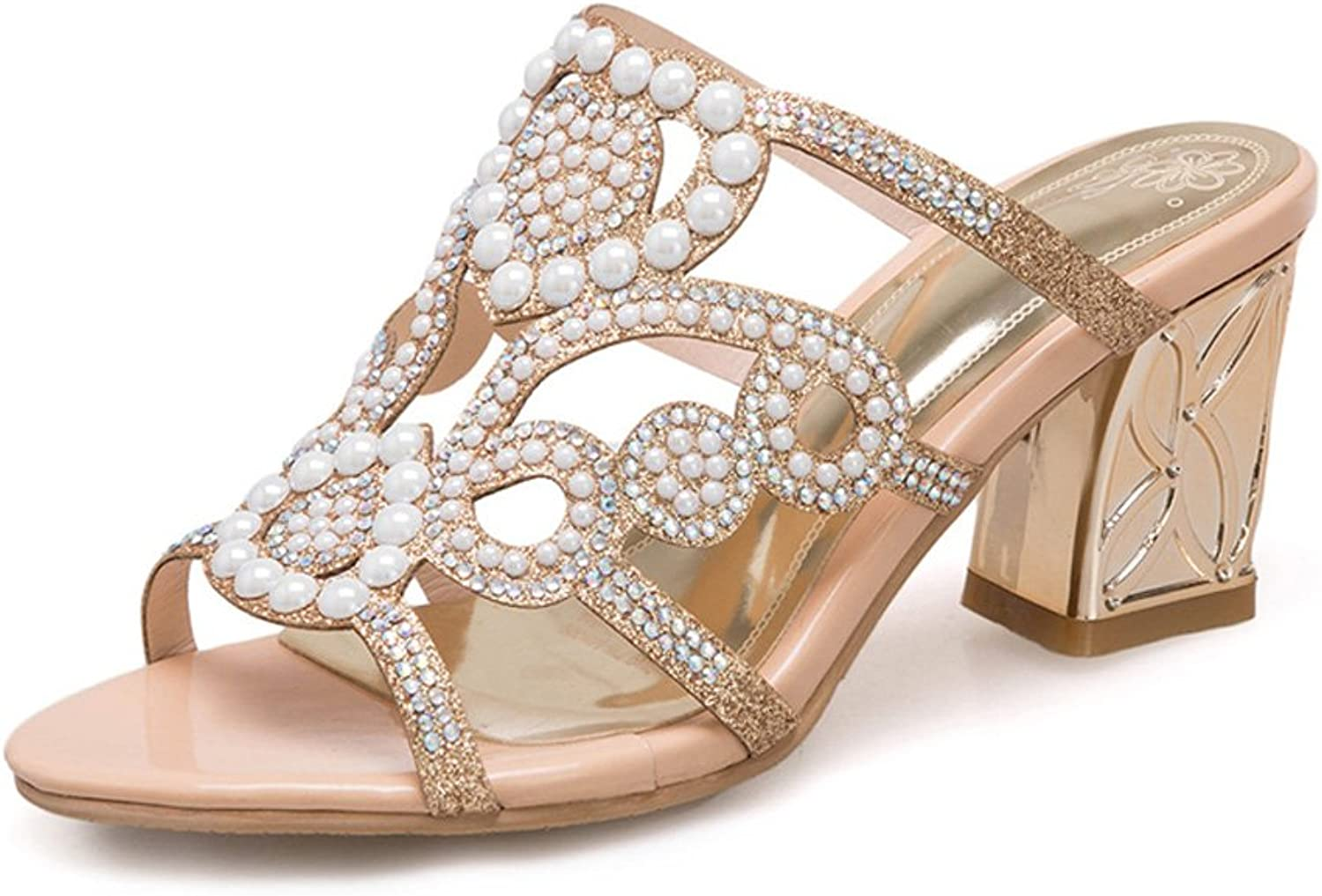 Genepeg Womens Sandals Summer Crystal Party shoes Sexy Cut-Outs Ladies High Heels shoes gold