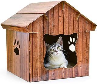 GIBOLEA 猫の家 ハウス 爪とぎ キャットダンボールハウス 収納簡単 通気 多機能 褐色 幅35CM X 奥行36CM X 高さ40CM