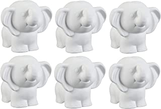 Creative Hobbies Tiny Tot Elephant, Case of 6, 4.25 Inch Tall, Unfinished Ceramic Bisque, with How to Paint Your Own Pottery Booklet