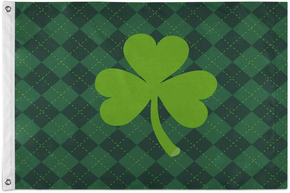 AUUXVA XMCL 2x3 Ft Garden Flag,Shamrock Clover St Patrick Day Polyester Flying Flag Banner with Grommets for House Outdoor Yard Festival Decor