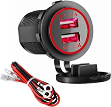 Dual USB Charger Socket Power Outlet - 2.1A & 2.1A for Car Boat Marine Mobile with Wire Fuse DIY Kit (4.2A-Red)