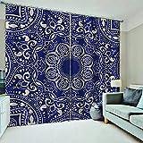 WAFJJ Juego de 2 Cortinas Azul y Mandala para Dormitorio Salón Habitación Comedor con Ojales, Decoración de Ventana Semiopacas Tamaño:2x117x138cm(An x Al)