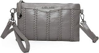 DIEBELLAU New pu Small Envelope Envelope Female Bag Mortise Lock Shoulder Diagonal Package (Color : Gray)